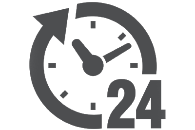 Black clock with the number 24 | Self-Storage that's Convenient & Accessible