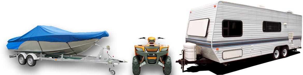 Collage of recreational equipment | Boat, Four-Wheeler, Pull Behind Camper Travel Trailer